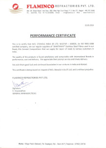 24.Performance Certificate - Flaminco Refractories, Nagpur
