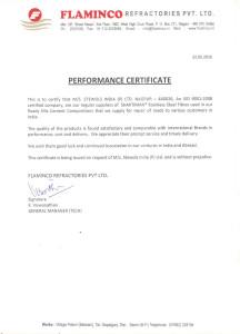 24.Performance Certificate - Flaminco Refractories, Nagpur